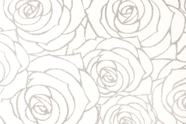 Prestige Roses 6 pattern carpet swatch (silver sparkles on ivory white background)