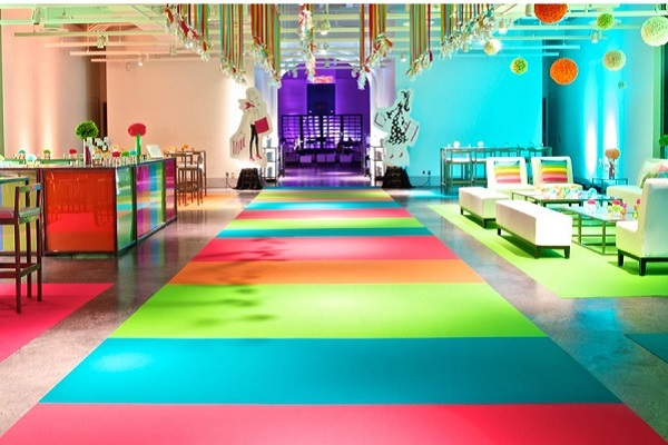 Super bright and colourful custom event carpet runner