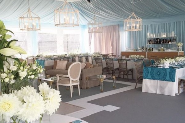 Grey and chalk event carpet for a custom tent floor