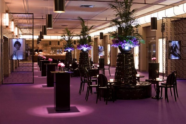 Purple event carpet installed in a banquet hall