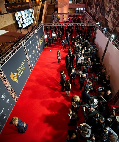 Cool overhead view of red carpet at The Sony Center