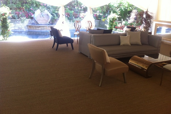 Naturals seagrass carpet in a poolside cabana