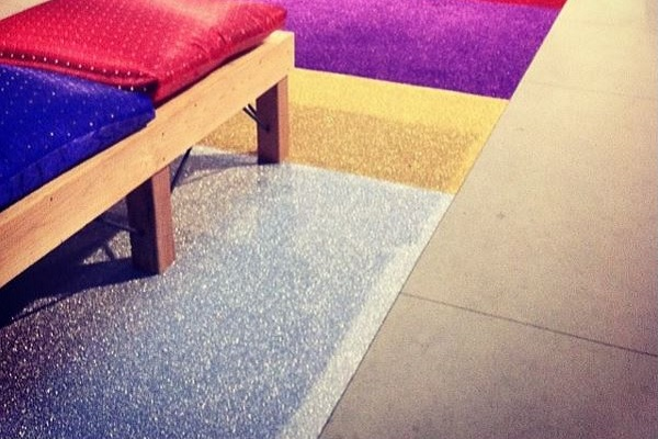 Silver diamond carpet, seamed together with gold, purple and red diamond for a splendid sparkling custom runner