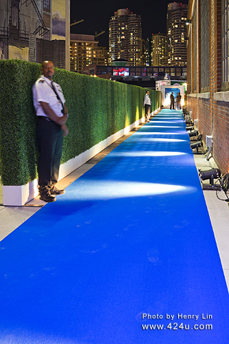 Royal Blue Event Carpet At A Downtown Launch Party