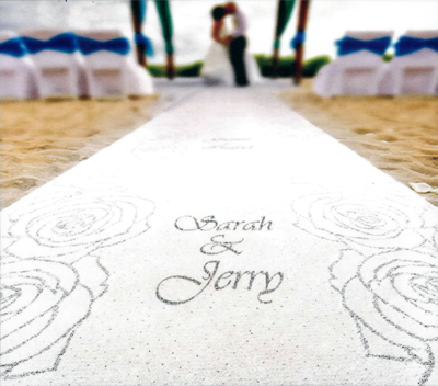 Custom printed monogram for a wedding aisle