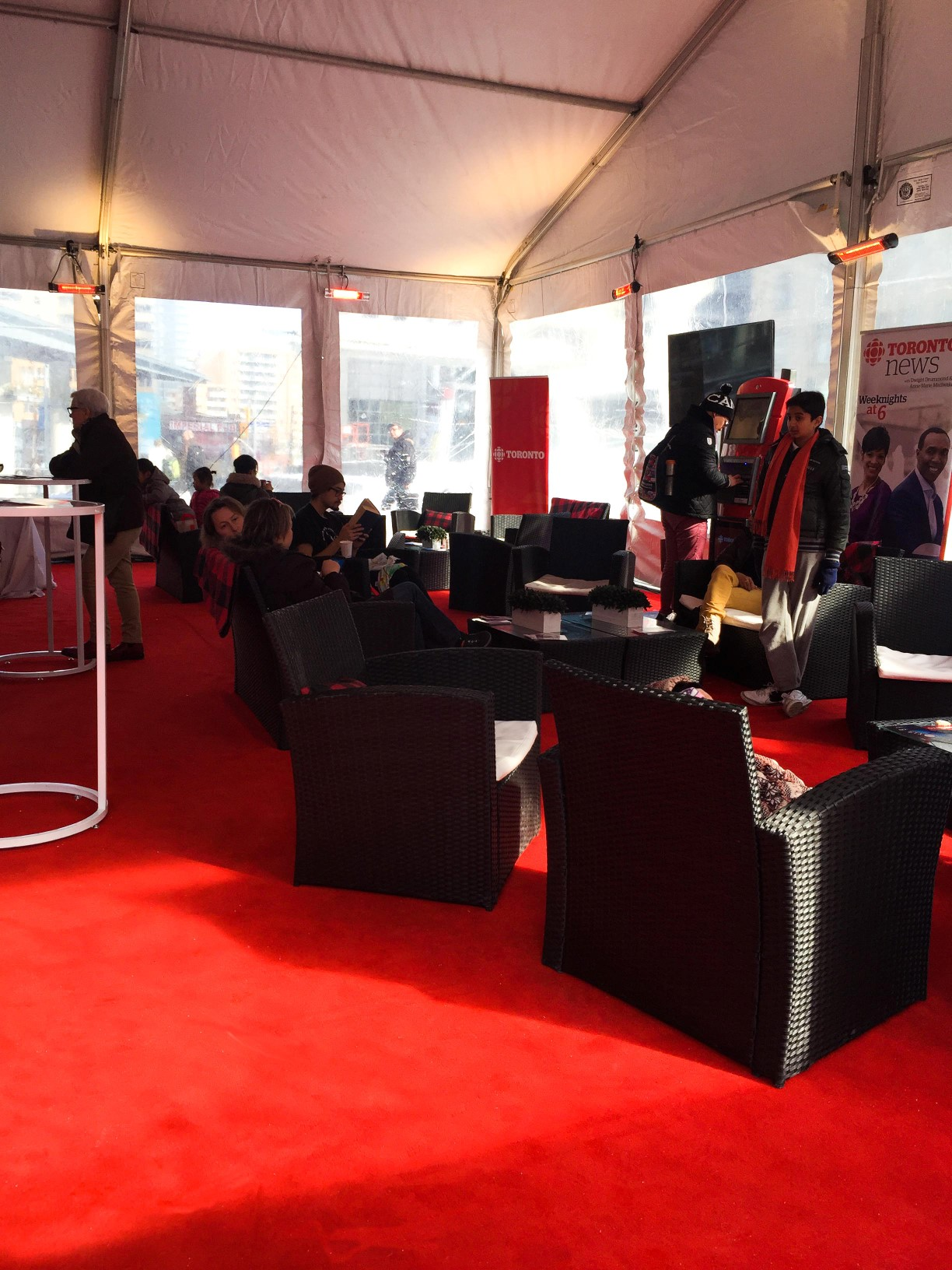 Black Tie carpet in Cerise at a brand activation outdoors in Yonge & Dundas Square