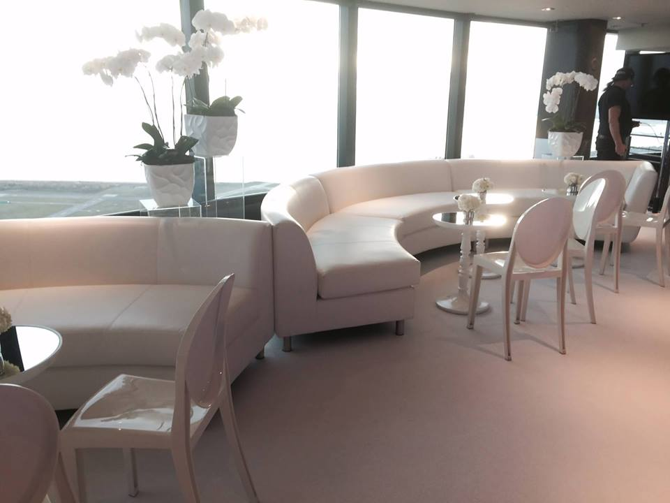 All white lounge with event carpet