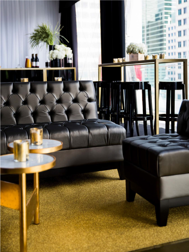Diamond gold event carpet at a chic downtown wedding