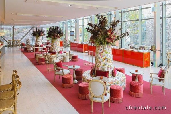 Hot pink event carpet in a gorgeous color-blocked lounge