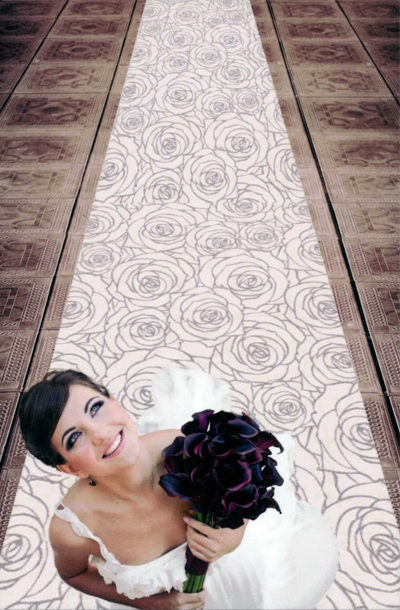 Gorgeous wedding aisle in Prestige Carpet, colour Roses 6