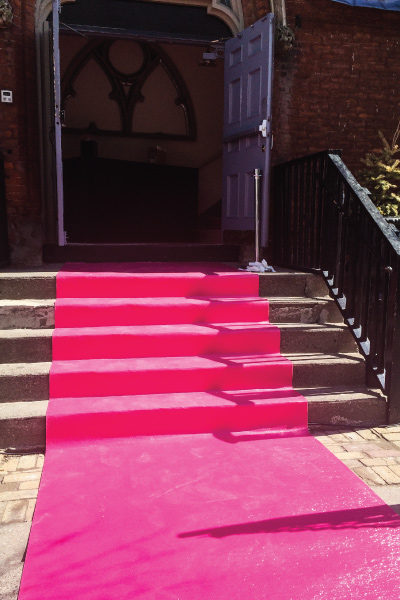 Pink event carpet at Berkeley Church by McIntyre Communications for L'Oreal