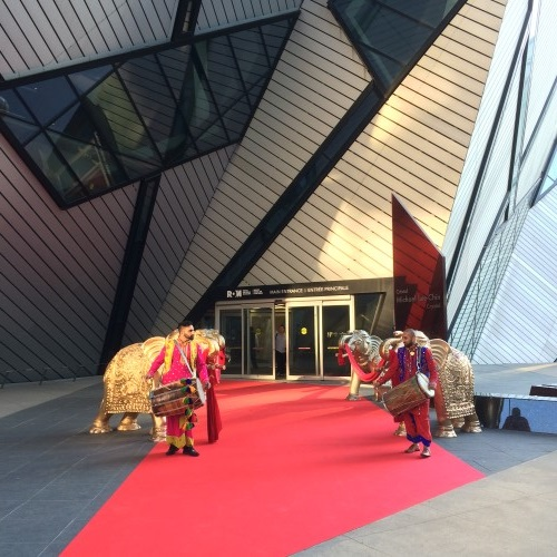 Red event carpet at the Royal Ontario Museum in Toronto