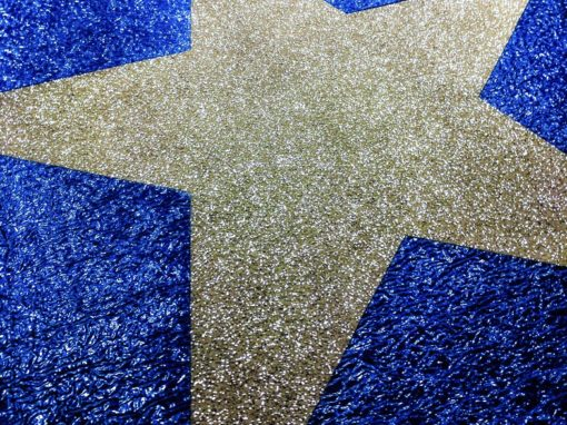 Diamond Blue Event Carpet with Custom Diamond Silver Star Design for The Weather Network in the US