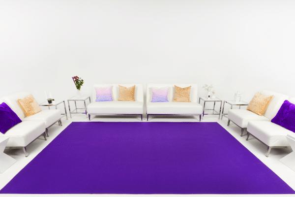 Purple event carpet installation